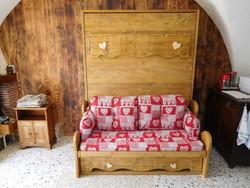 lit relevable ou lit armoire avec banquette en 160x200 - lit relevable,lit armoire - VERCORS LITERIE  - Voir en grand