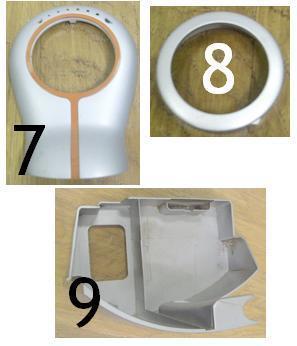 7: Groupe café 8: Couvercle diffuseur café 9: Molette réglage machine café Saeco Odéa - Voir en grand