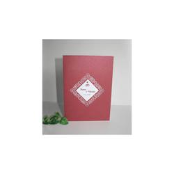 Faire-part mariage bordeaux, papier Irisé, cadre triangulaire  ajouré, amalgame print grenoble - Voir en grand