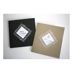 Faire-part mariage Brun, papier Irisé, cadre triangulaire  ajouré, amalgame print grenoble - Voir en grand
