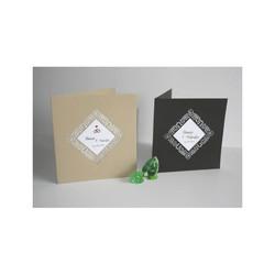 Faire-part mariage bleu marine, papier Irisé, cadre triangulaire  ajouré, amalgame print grenoble - Voir en grand