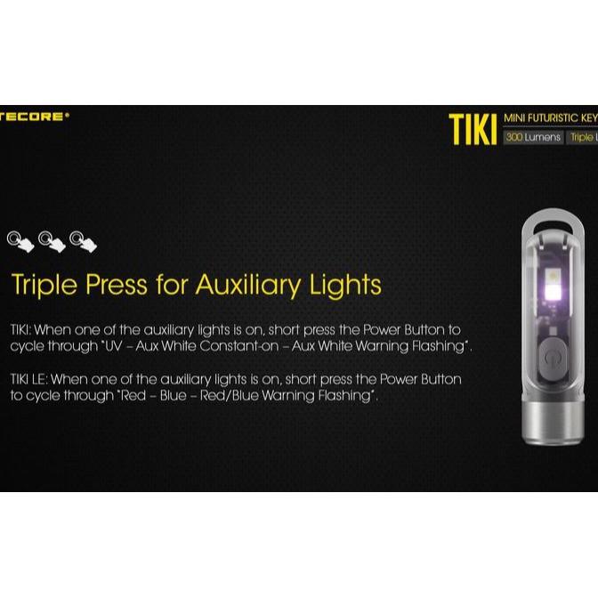 Minie Lampe Tiki Nitecore torche compacte porte clef rechargeable usb 300 lumens économie éclairag - Voir en grand