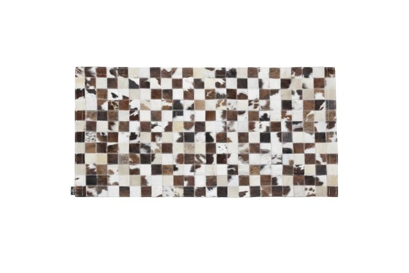 Tapis patchwork marron carré de 5 cm - Peaux de vache et tapis - La Petite Boutique - Voir en grand