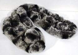 Tour de cou en lapin rex gris et noir - Tour de cou en fourrure - La Petite Boutique - Voir en grand