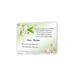 Champ fleurs blanches, Remerciements décès, carte condoléances Bijoux, amalgame print grenoble - Voir en grand