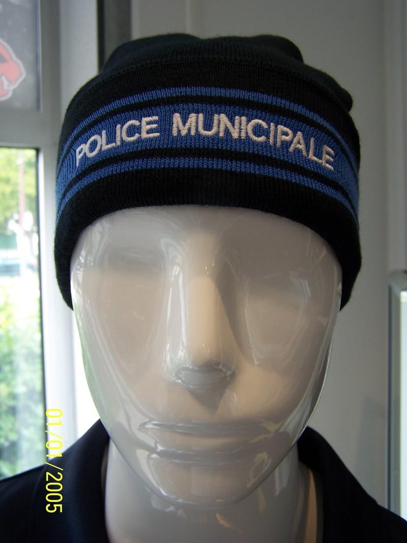 bonnet marine 3 bandes gitane brodé police municipale 50% laine et 50% acrylique - Voir en grand