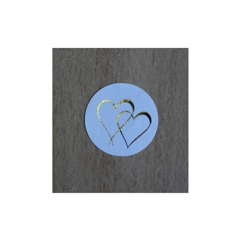 timbre scellage 2Coeurs entrelaces, pour fermer, cacheter vos enveloppes, amalgame print grenoble - Voir en grand