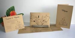 Faire part mariage 2 elephants amoureux, papier kraft fines rayures, amalgame imprimeur grenoble - Voir en grand