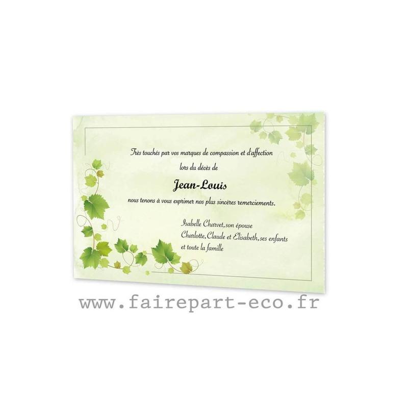 Remerciements décès, esprit vignoble, branche feuilles de vignes, amalgame imprimeur grenoble - Voir en grand