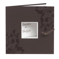 Faire-part mariage,  personnalisé orné arabesques, marron/chocolat, Grenoble