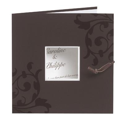 Faire-part mariage,  personnalisé orné arabesques, marron/chocolat, Grenoble - Voir en grand