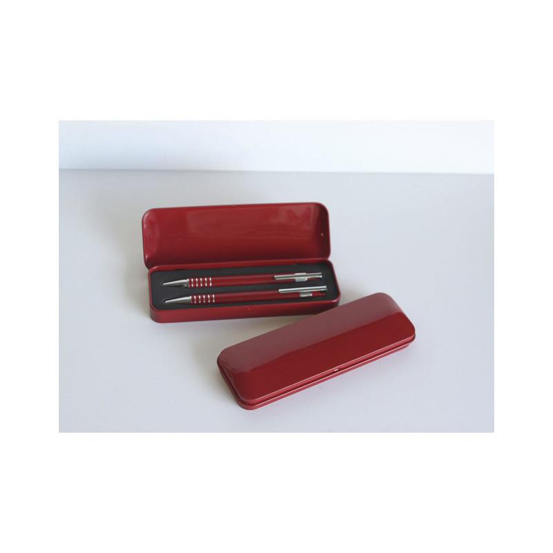 Parure de Bureau Coffret métal 2 stylos, rouge, personnalisé, Memphis, marquage amalgame Grenoble - Voir en grand