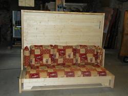 lit relevable avec banquette escamotable  - lit relevable,lit armoire - VERCORS LITERIE  - Voir en grand