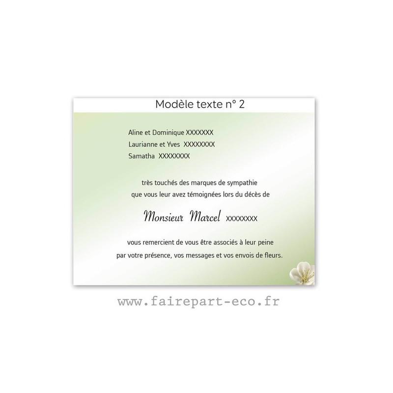 Modèle de texte N°2 pour personnaliser carte décès, amalgame imprimerie grenoble - Voir en grand