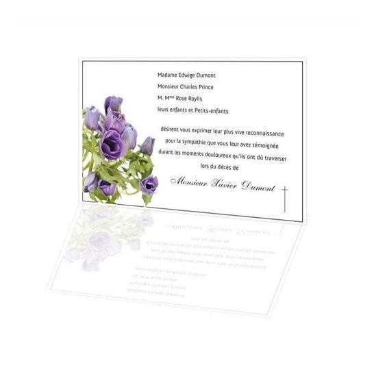 Bouquet De Fleurs Violettes Carte Remerciement Deces Condoleances Amalgame Imprimeur Graveur