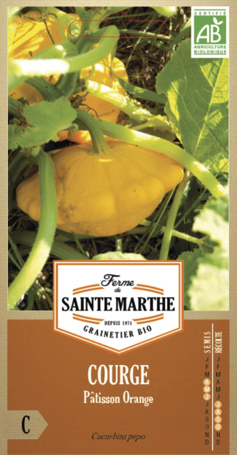 courge patisson orange bio ferme de sainte marthe graine semence potager sachet semis - Voir en grand