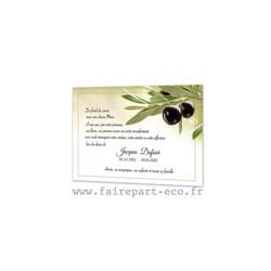 Oliviers, Olives, la Provence, Carte remerciement décès, condoléance, amalgame imprimerie, grenoble