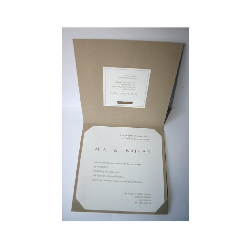 invitation mariage brun papier naturel, superbes arabesques, 1,70 ¤ - Voir en grand