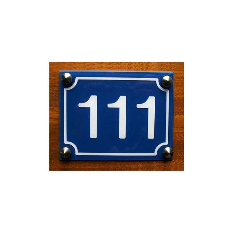 Plaque plexi bleu, numéro rue, maison, plexiglas noir lettres Or, amalgame graveur grenoble - Voir en grand