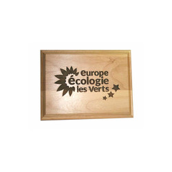 plaque logo, en bois vernis  gravé, véritable, plaque ecolo, graveur amalgame grenoble - Voir en grand