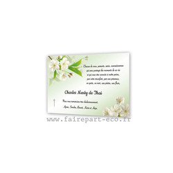 Remerciements décès, sublimes fleurs blanches amalgame print grenoble, carte condoléance Bijoux - Voir en grand