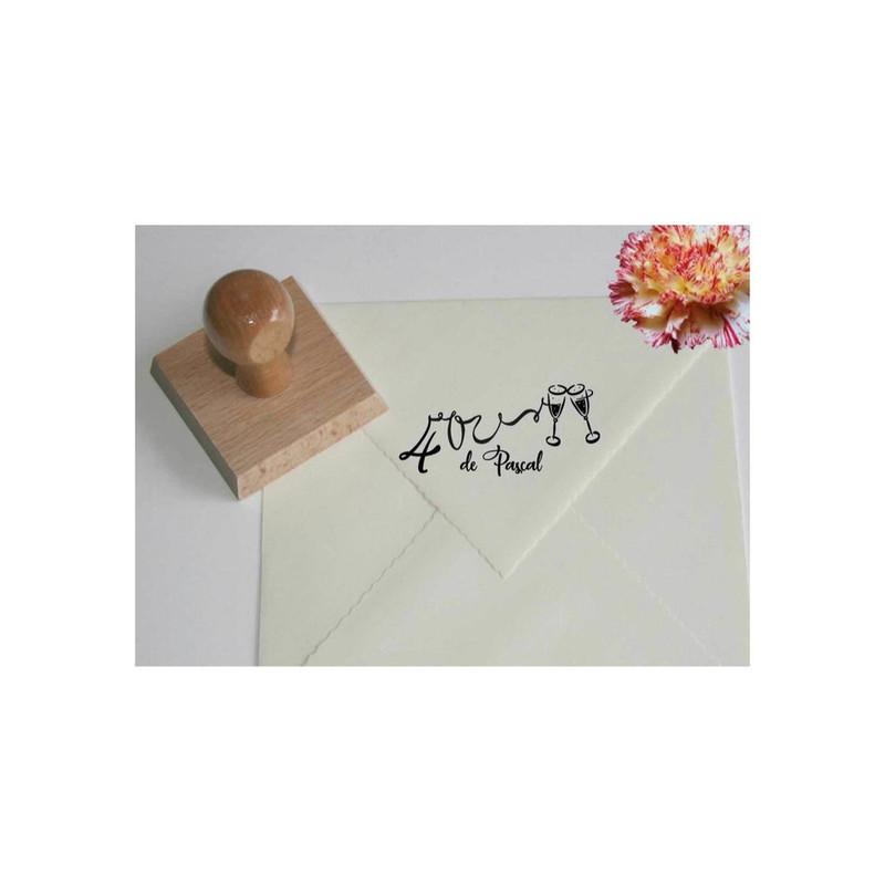 Tampon  anniversaire, Tampon Scrapbooking, Design stylisé tampon, création, 40 ans, Graveur amalgame - Voir en grand