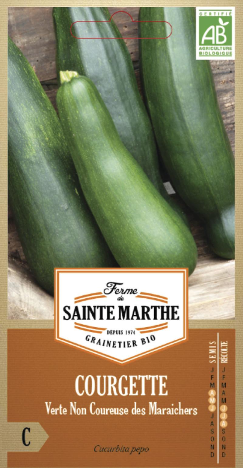 courgette verte non coureuse des maraichers bio la ferme de sainte marthe graine semence potager - Voir en grand
