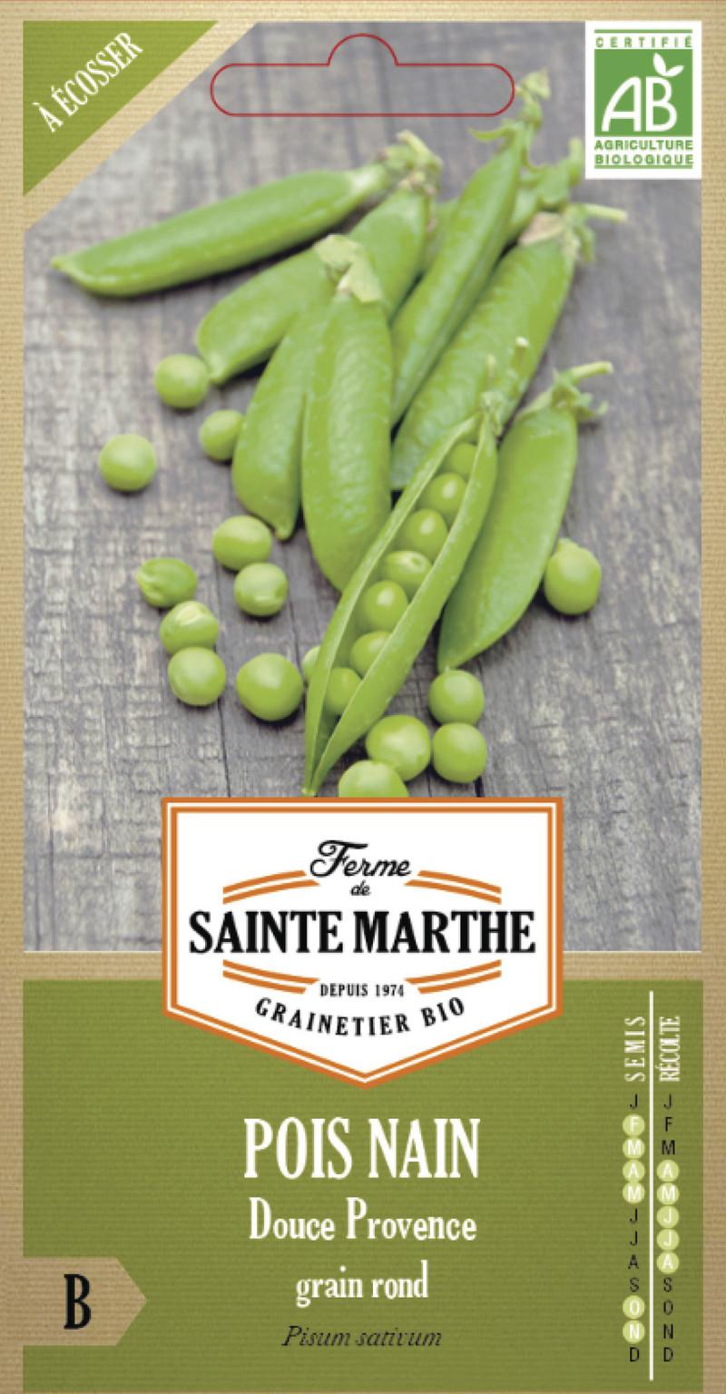 pois nain douce provence grain rond bio la ferme de sainte marthe graine semence potager boite semis - Voir en grand