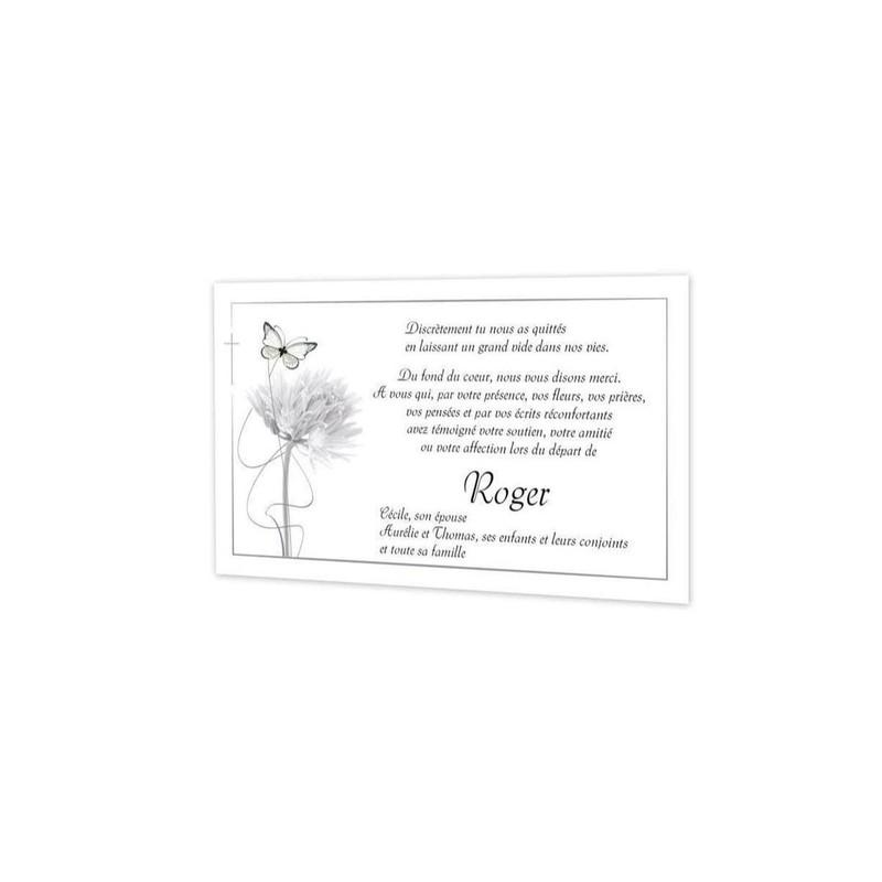 Carte Remerciement Deces Condoleances Deuil Pissenlit Et Papillon Amalgame Imprimeur Grenoble