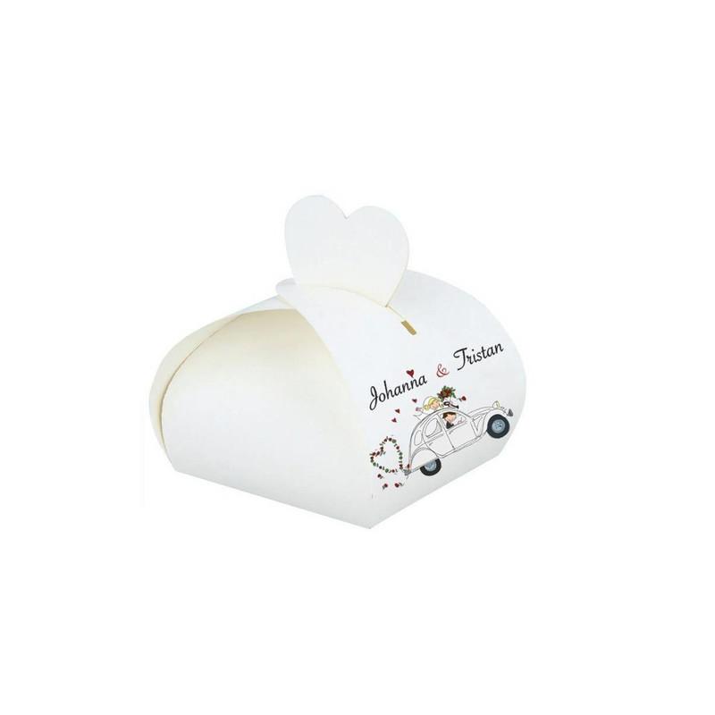 boite à dragées  blanche mariage personnalisé  2CV retro grise, amalgame imprimeur grenoble - Voir en grand