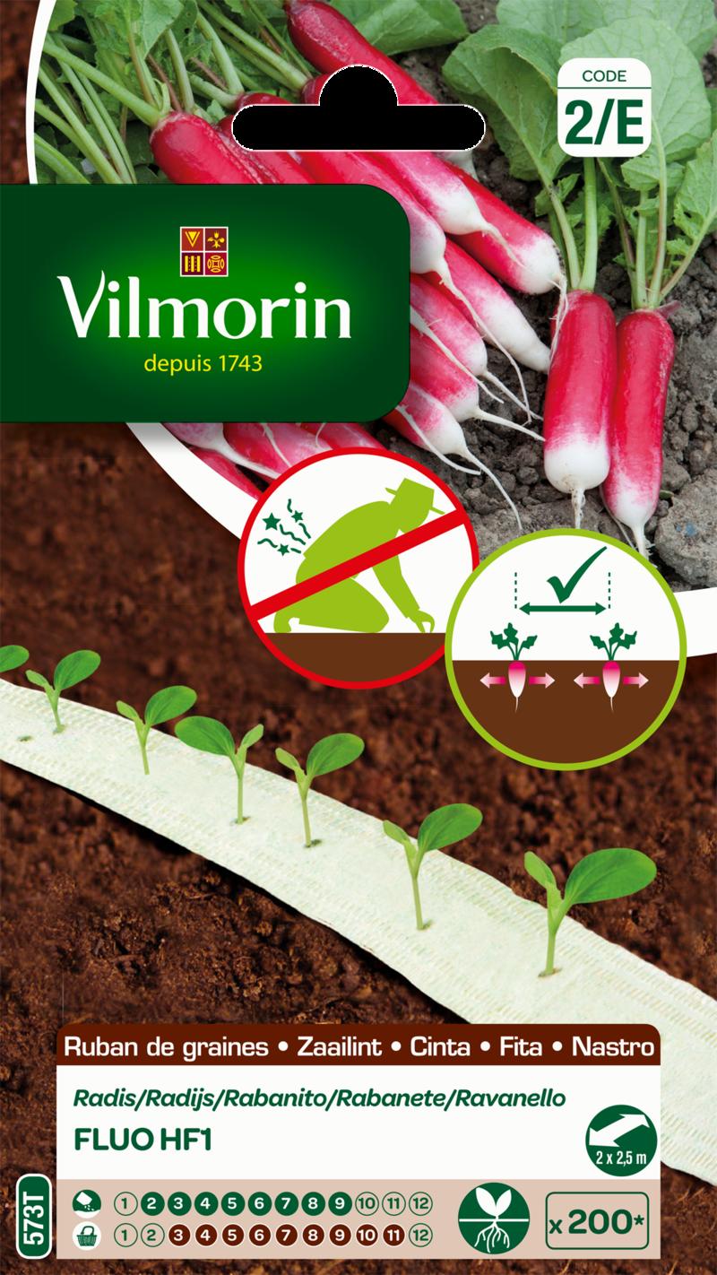 radis fluo hybride f1 vilmorin graine en ruban semence potager sachet semis - Voir en grand
