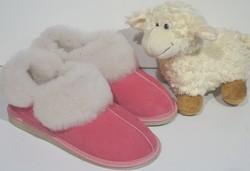 """Chaussons """"Québec"""" roses en mouton retourné - Chaussons-pantoufles en peau et laine - La Petite Boutique - Voir en grand"""