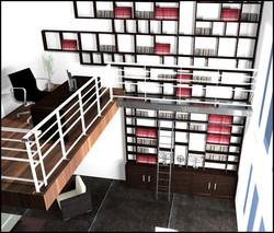 Bibliothéque sur deux niveaux - Voir en grand