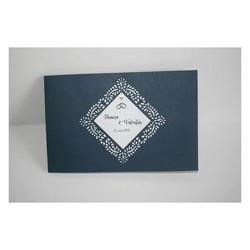Faire-part mariage Kraft, papier Irisé, cadre triangulaire  ajouré, amalgame print grenoble - Voir en grand