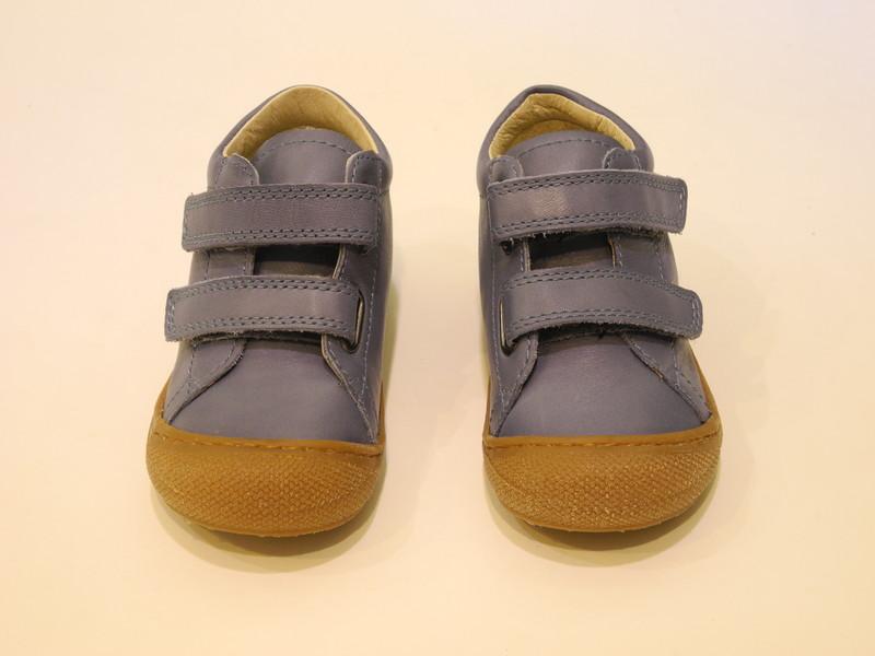 Chaussure bébé bleu velcros souple - Voir en grand