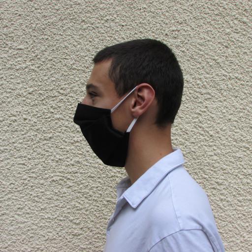 Masque barrière noir profil - Voir en grand