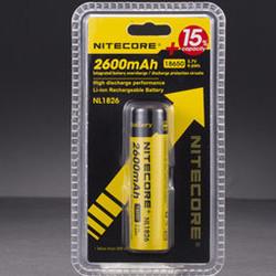 batterie rechargeable nitecore 2600mAh accu 18650 pile 3.7v 9.6Wh NL1826 pour lampe torche - Voir en grand