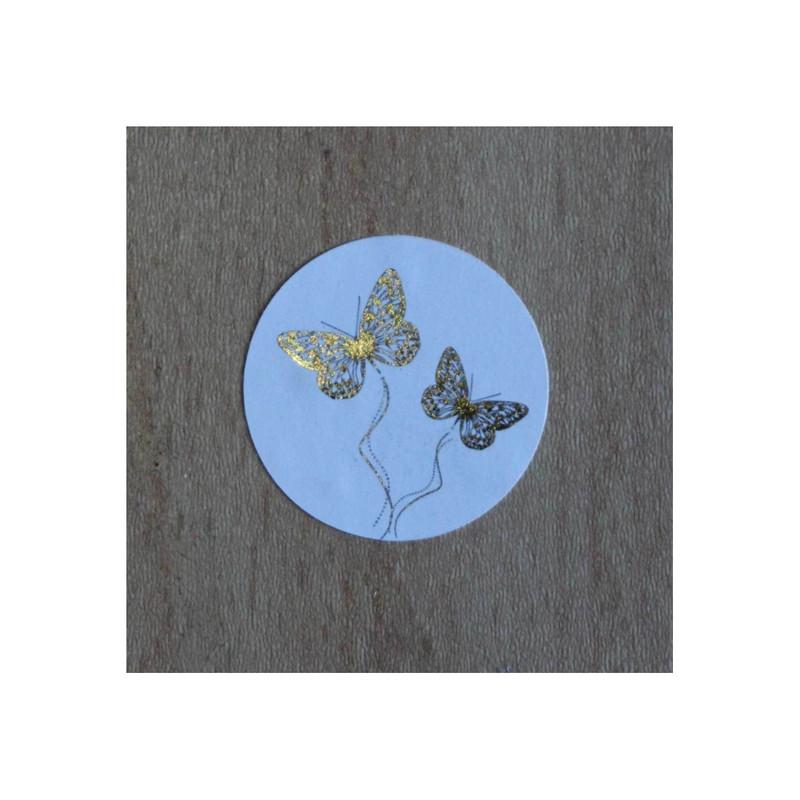 timbre de scellage papillons, pour fermer, cacheter vos enveloppes, amalgame print grenoble - Voir en grand