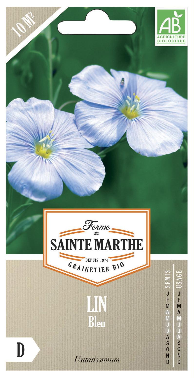 lin bleu linum usitatissimum bio la ferme de sainte marthe graine semence fleur engrais vert boite - Voir en grand