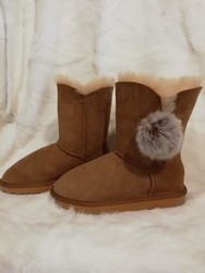 Bottines SYDNEY - Chaussons-pantoufles en peau et laine - La Petite Boutique - Voir en grand