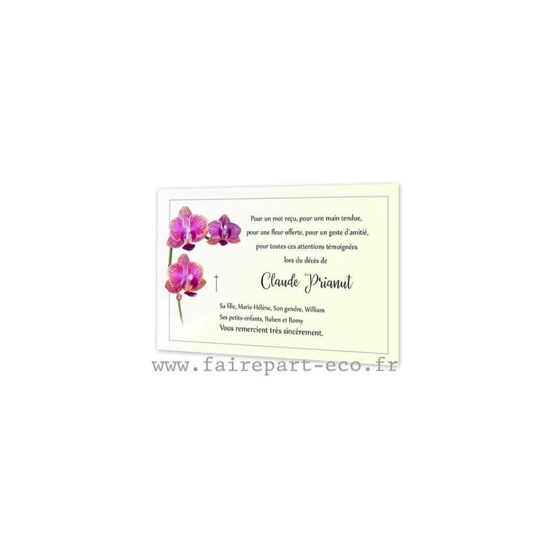 Carte de deuil, Ornée de 3 magnifiques orchidées, de rose éclatant, amalgame print grenoble - Voir en grand