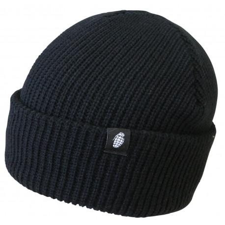 bonnet tactical noir 100% acrylique réversible logo grenade - Voir en grand