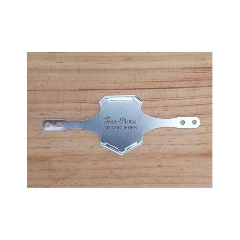 plaque de vélo plaque identification vélo gravée metal argent amalgame graveur à grenob - Voir en grand