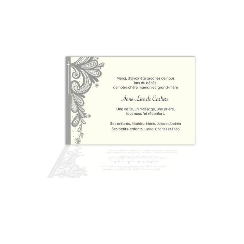 Carte Remerciements Deces Condoleances Dentelliere Grenoble 38000