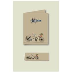 Tandem, amoureux en velo, Menu, marque-place mariage, papier ecolo, imprimeur graveur à grenoble - Voir en grand