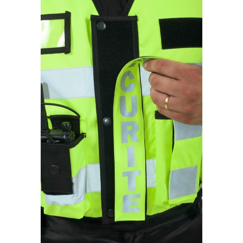 gilet sécurité haute visibilité multi-poches jaune fluo bandes rétro flap personnalisable amovible  - Voir en grand