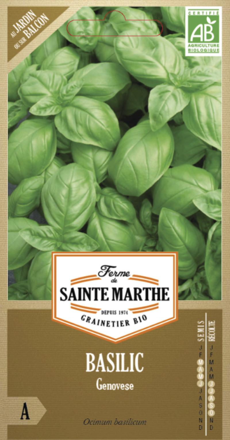 basilic genovese bio la ferme de sainte marthe graine semence aromatique sachet semis - Voir en grand