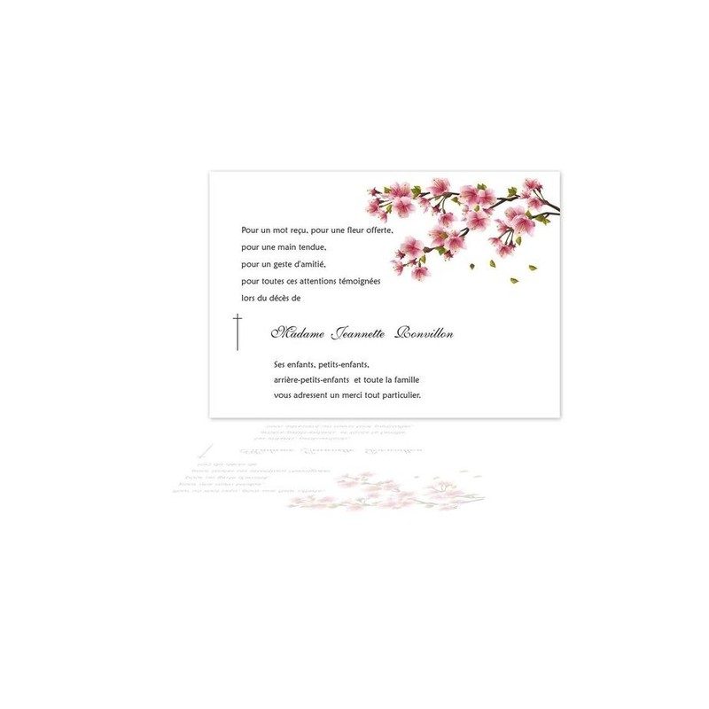 Carte Remerciements Décès Condoléances Osaka
