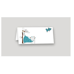 Faire part mariage turquoise, marque-place, moderne Charlety, amalgame print grenoble