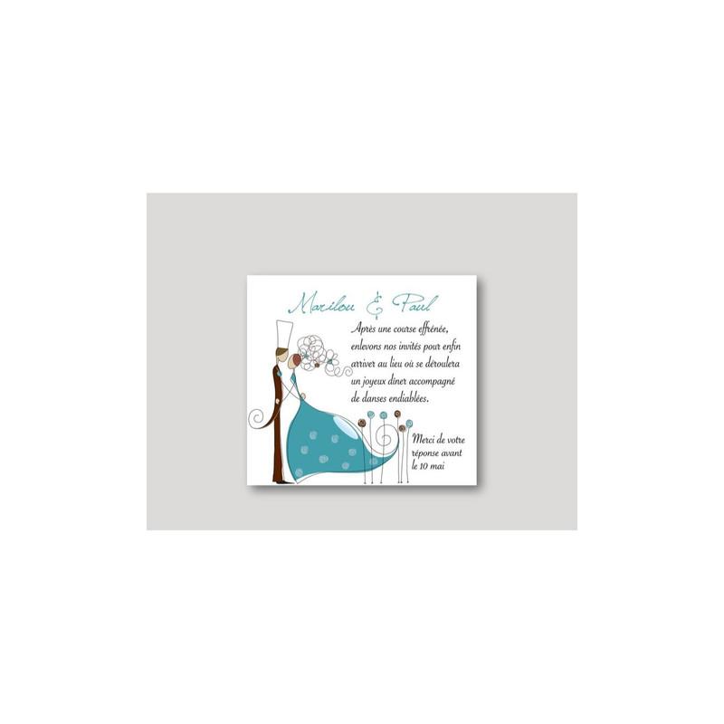 Faire part mariage turquoise, invitation moderne, diner,  Charlety, amalgame print grenoble - Voir en grand